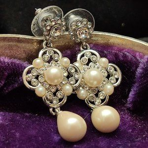 Vintage Carolee Rhinestone Pearl Earrings Wedding